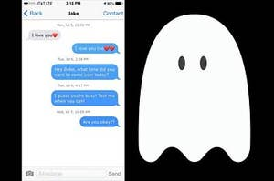 A text message conversation with a cartoon ghost next to it.