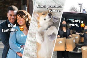 three images from left to right are a husband and wife duo hugging, a corgi dog snuggling an elephant plush toy, and a mother-daughter duo loading a van with their coffee products for delivery