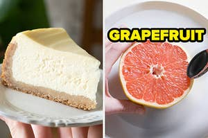 On the left, a piece of cheesecake on a plate, and on the right, half a grapefruit on plate