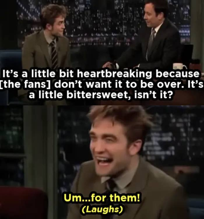 Rob on talk show saying he isn't sorry the franchise is ending, jokey
