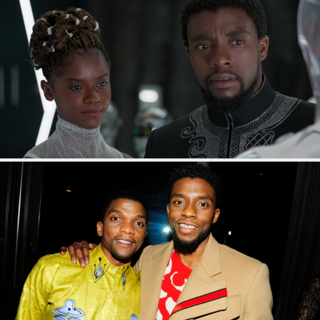 Above, T'Challa and Shuri are looking at new Black Panther suits. Below, Chadwick and Kevin are posing for a photo
