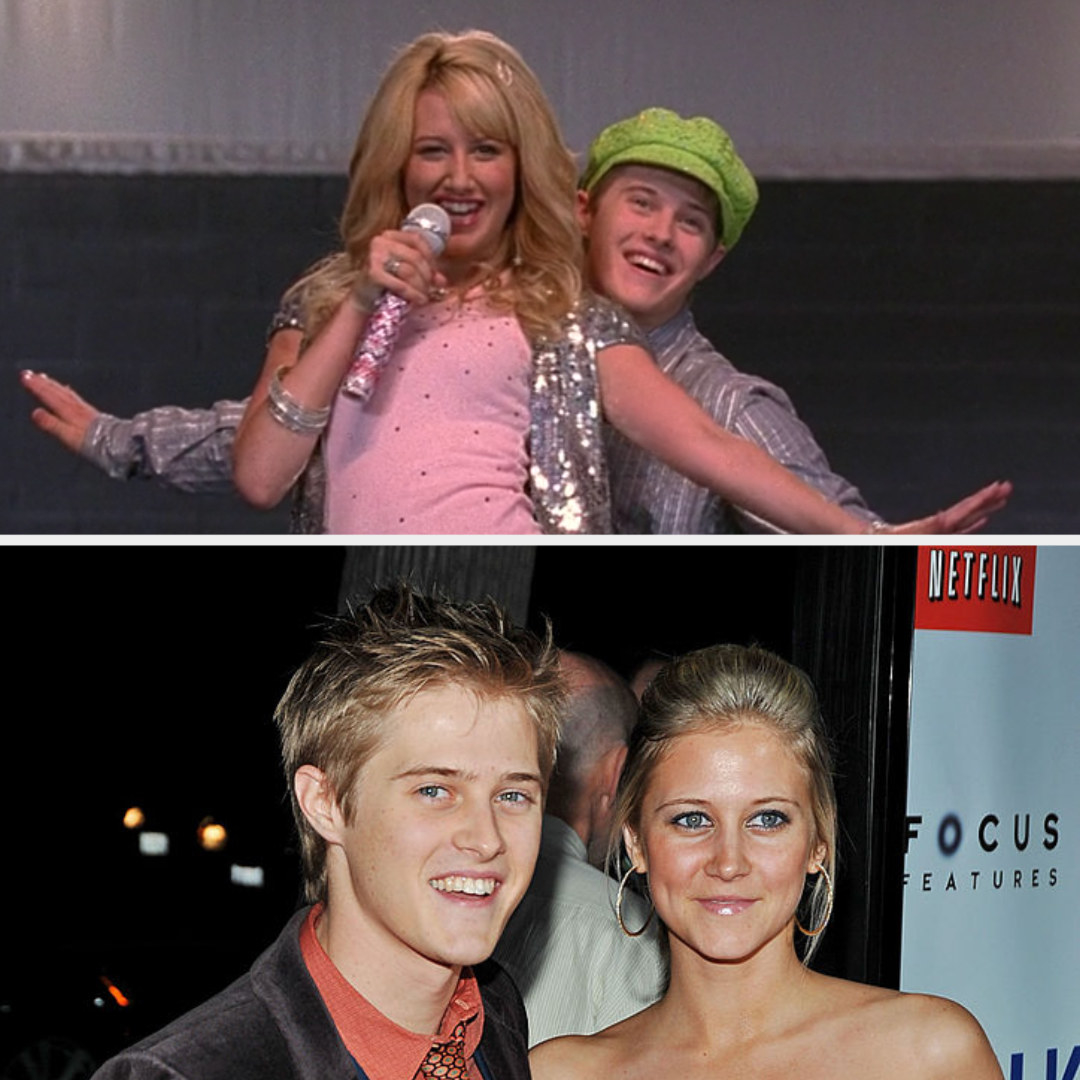 Above, Sharpay and Ryan are performing. Below, Lucas and Autumn at a premiere event