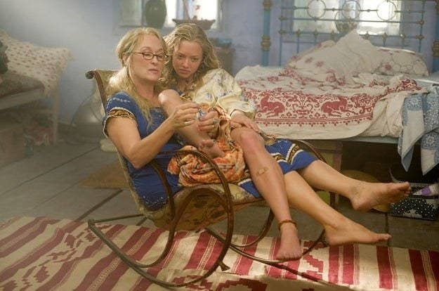 Amanda Seyfried sitting on Meryl Streep's lap