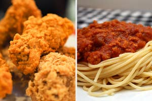 fried chicken and spaghetti