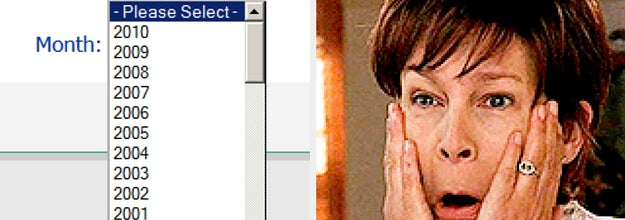 scrolling down to find your birth year and a reaction image of jamie lee curtis in freaky friday touching her face and saying