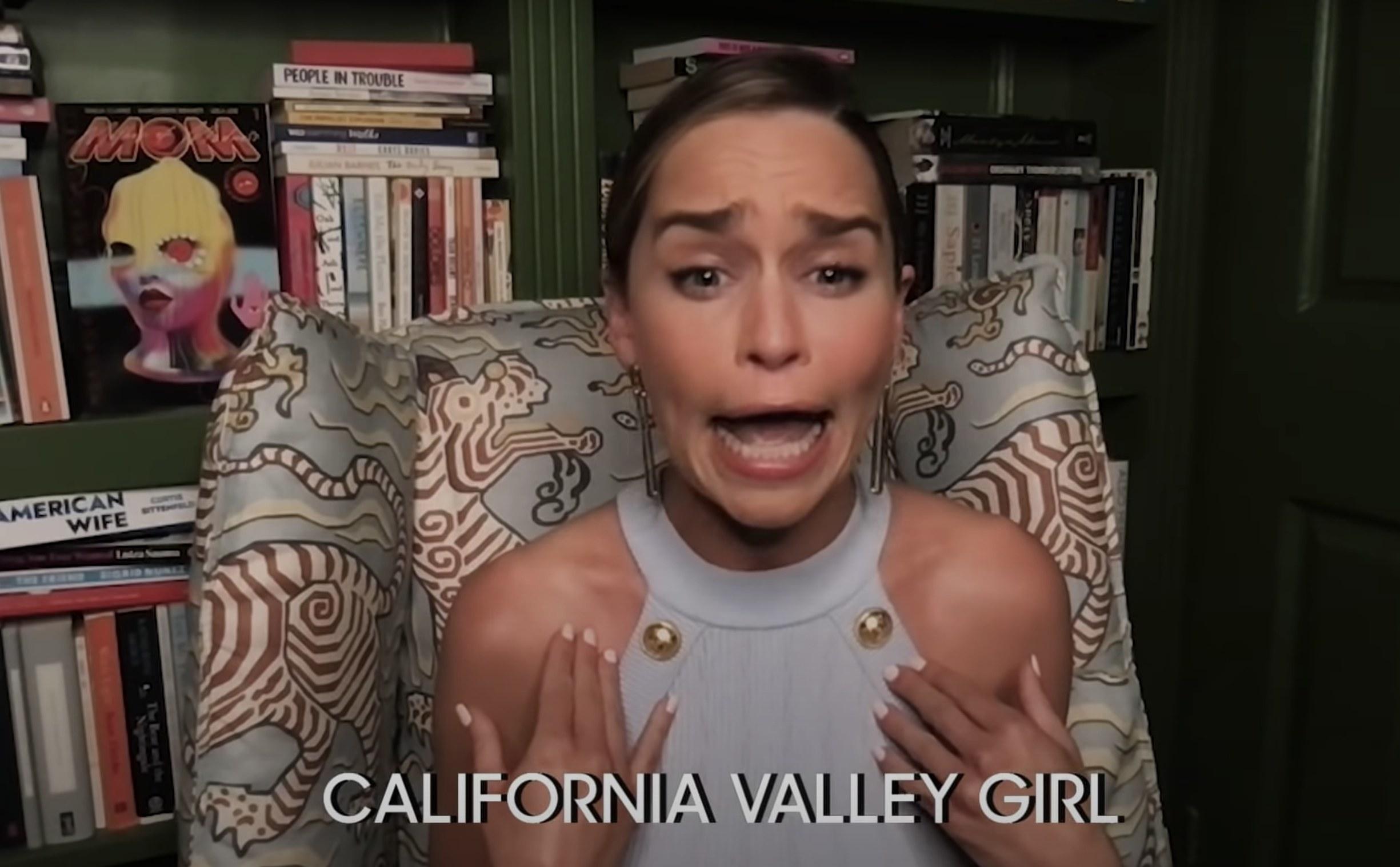 Emilia makes a funny face while imitating a Californian