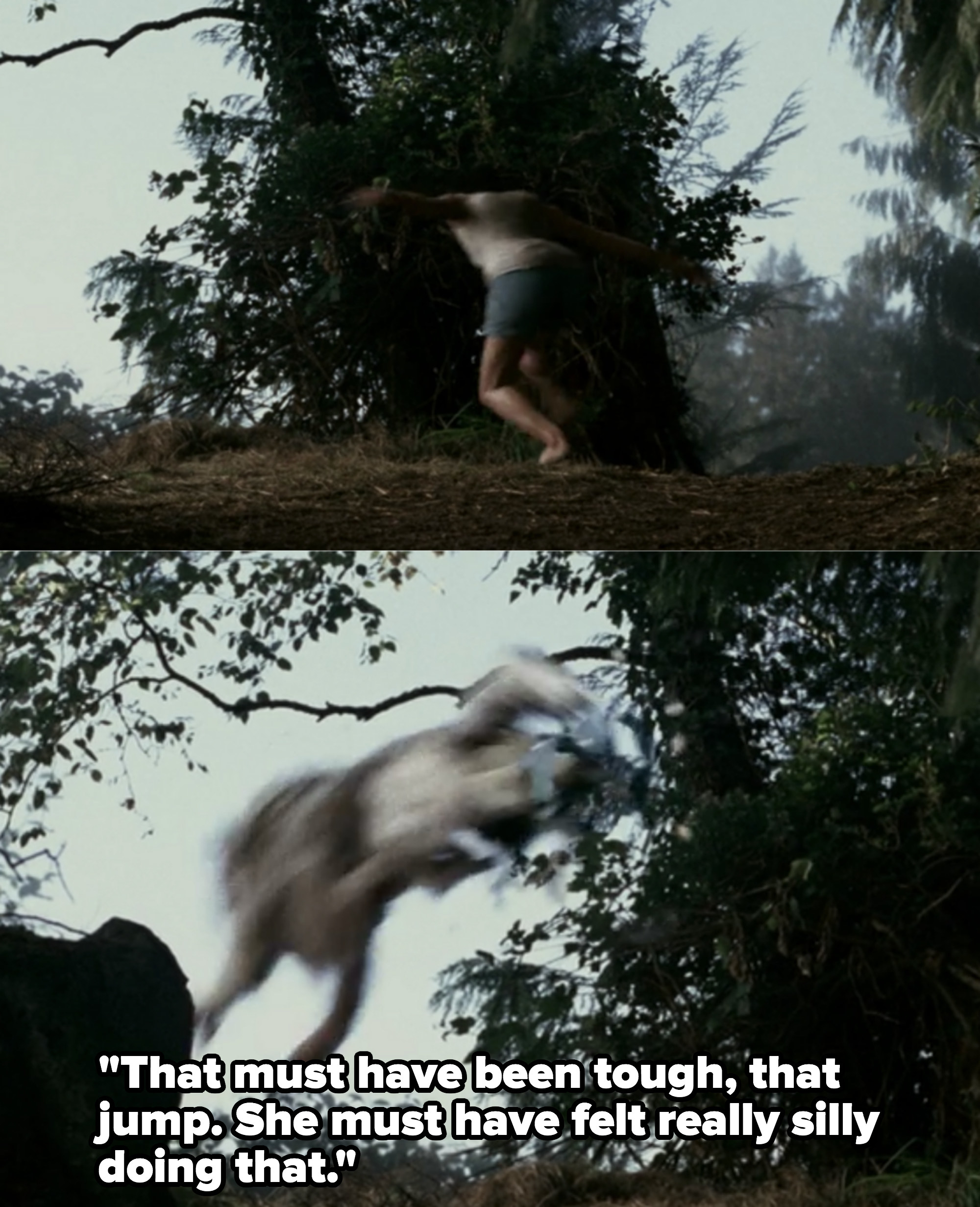 Woman transforms into wolf. Rob:That must have been tough, that jump. She must have felt really silly doing that.