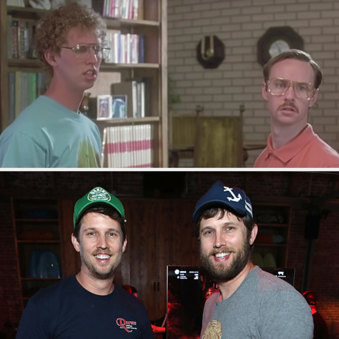 Above, Napoleon and Kip are fighting in their house. Below, Jon Heder stands with his twin at an Xbox game event