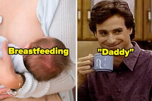 a woman breastfeeding, and danny tanner with the text
