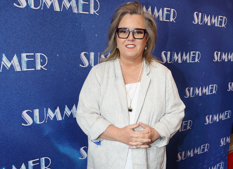 Rosie attends an event in a biege blazer