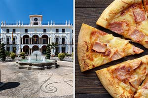 On the left, a mansion with a fountain out front, and on the right, a Hawaiian pizza