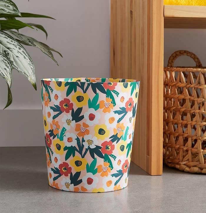 a floral waste bin