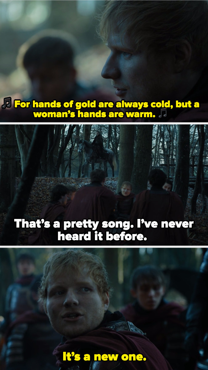 Ed Sheeran singing with Lannister soldiers when Arya Stark approaches them