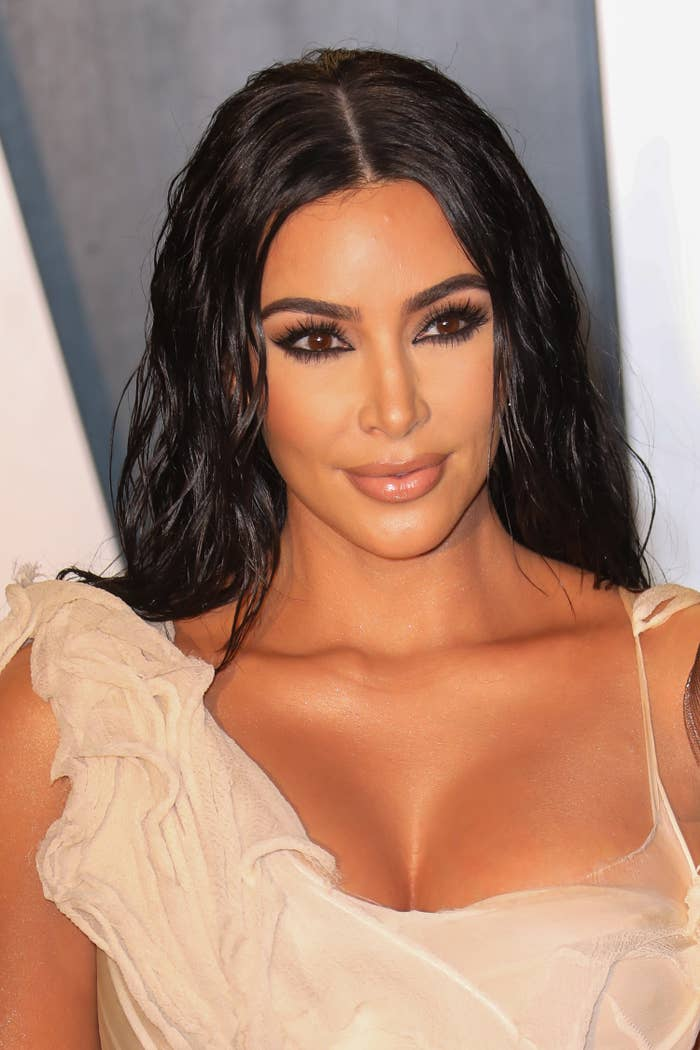 Kim Kardashian is photographed at the 2020 Vanity Fair Oscar Party