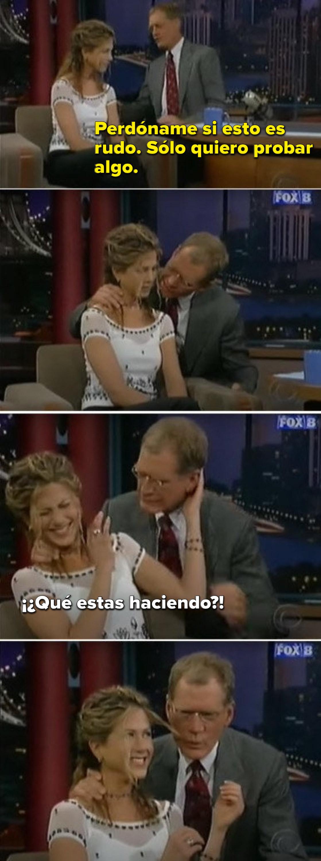 David Letterman sucking on Jennifer Aniston's hair