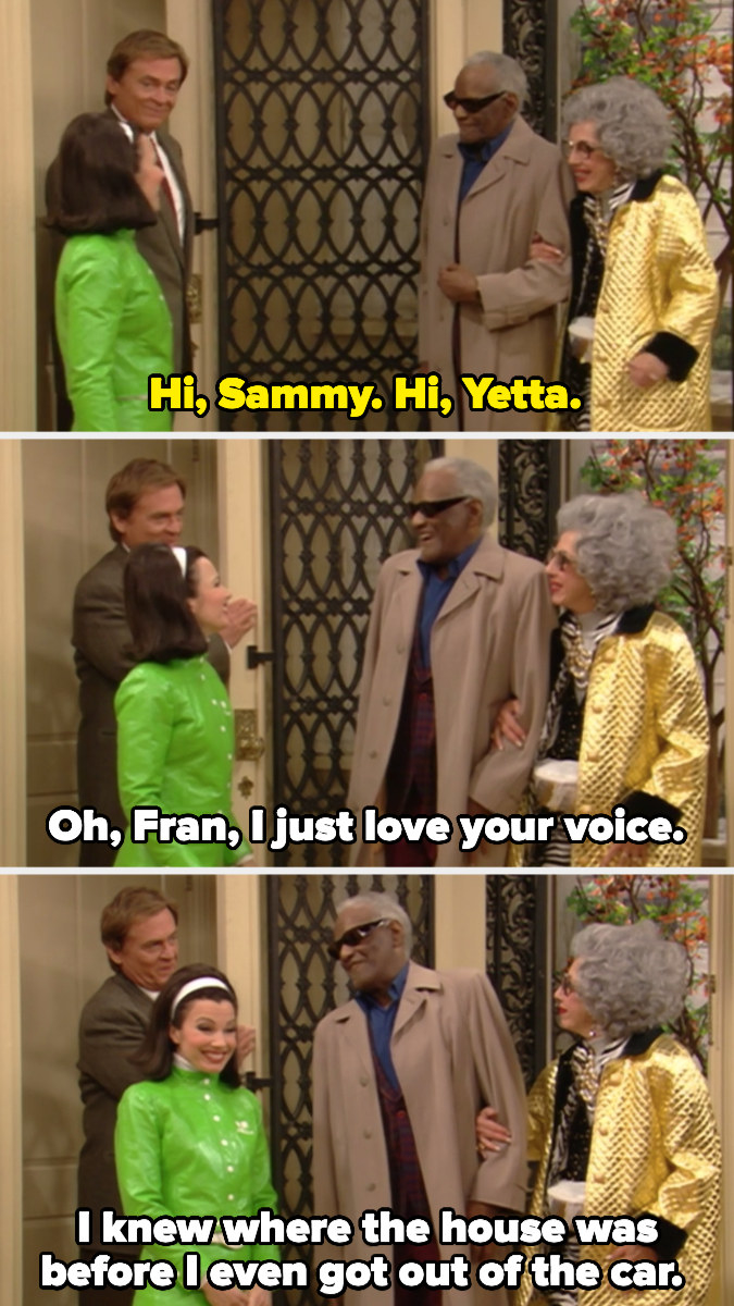 Ray Charles as Sammy telling Fran how much he loves her voice