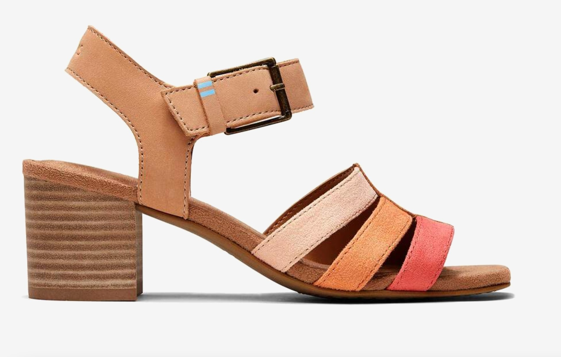 the leather block heel in honey