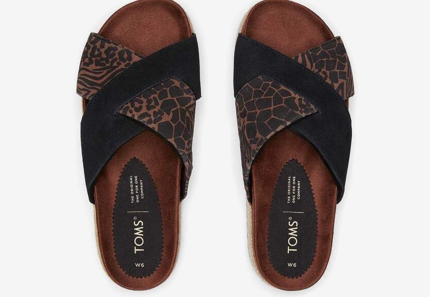 the paloma sandal in black and animal print