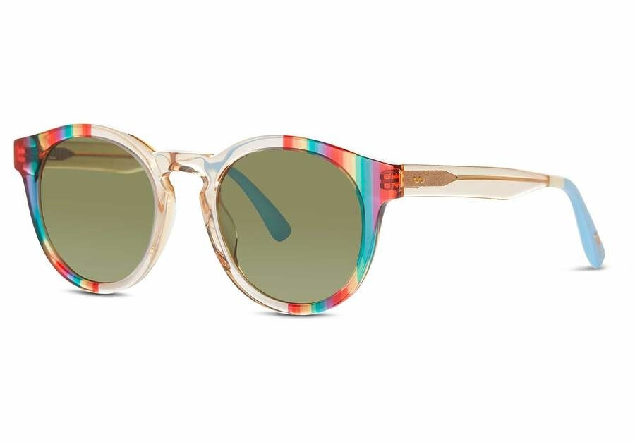 a pair of sunglasses with a see-thru rainbow print frame