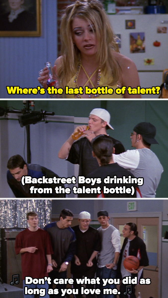 Backstreet Boys drinking a talent potion and bursting into song