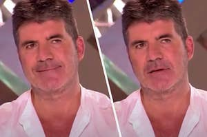 simon cowell smiling and then simon frowning in contempt