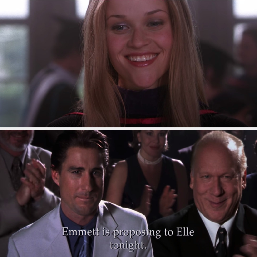 """The ending of """"Legally Blonde,"""" with text that reads: """"Emmett is proposing to Elle tonight"""""""