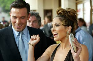 Jennifer Lopez and Ben Affleck attend a film premiere in 2003