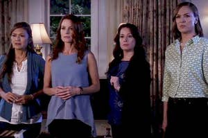 Emily, Hanna, Aria, and Spencer's moms all stand side by side