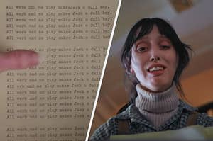 Wendy finding the typewriter in The Shining