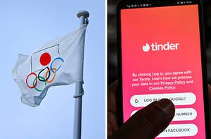 Splitscreen with a photo of the 2020 Olympic Tokyo flag and a photo of a phone open to Tinder