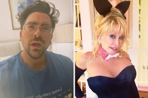Dan Levy side by side with Dolly Parton