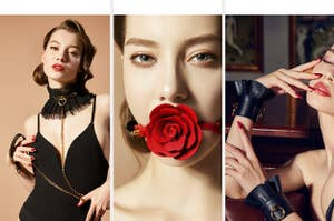 Model wearing black tulle collar and leash, model wearing red ball gag and model wearing black leather cuffs