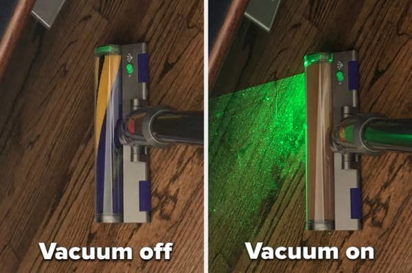 A before and after photo of a person turning on the vacuum, showing all the dirt on the floor with the laser