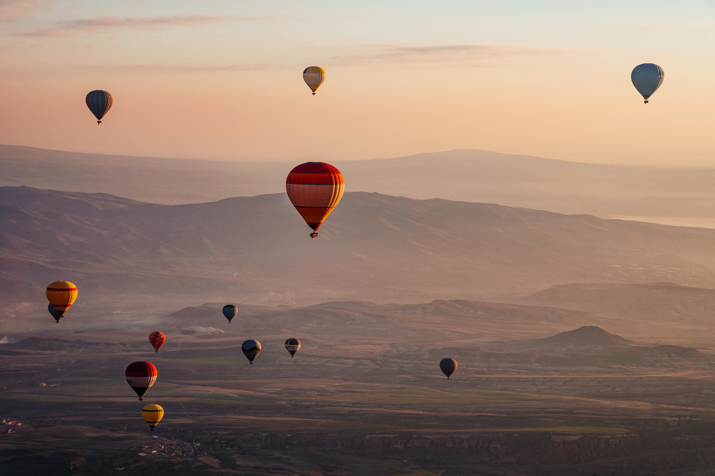 Hot-air balloons over the mountain range