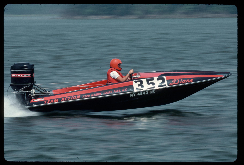Man racing on a motor-boat