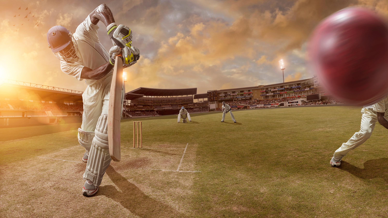 Cricket player swinging