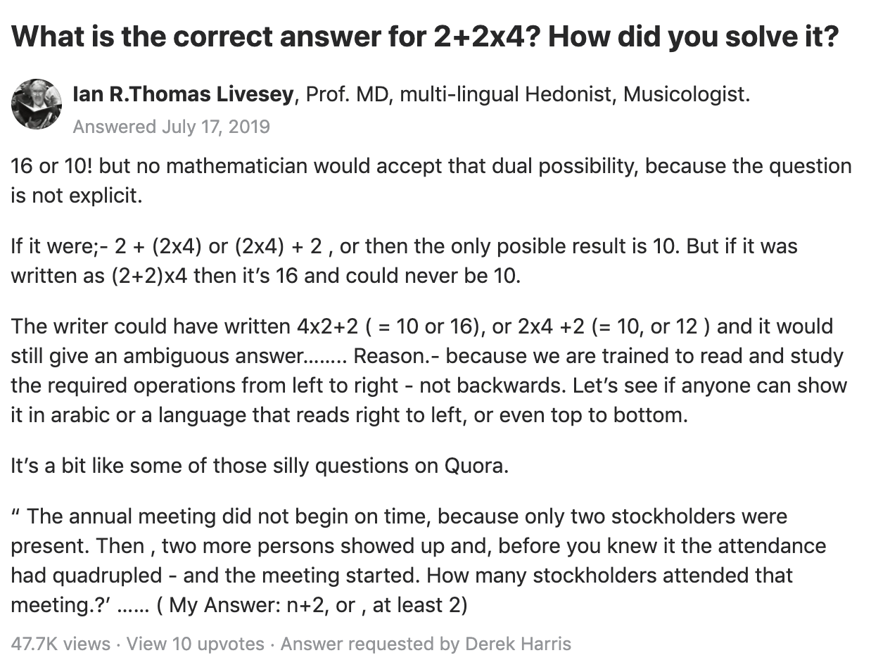 """Long explanation explaining how to solve """"What is the correct answer for 2+2x4?"""""""