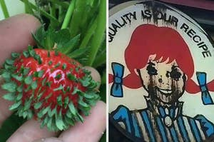 A strawberry where its seeds are sprouting and a wendys sign that looks cursed