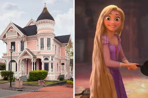 On the left, a Victorian-style house, and on the right, Rapunzel from