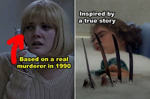 """Side-by-side of scenes from """"Scream"""" and """"A Nightmare On Elm Street"""""""