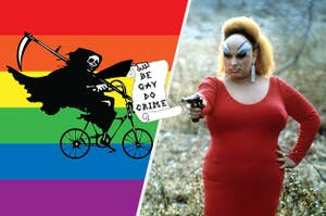 the grim reaper holding a sign that says be gay do crime next to divine in pink flamingos holding a gun