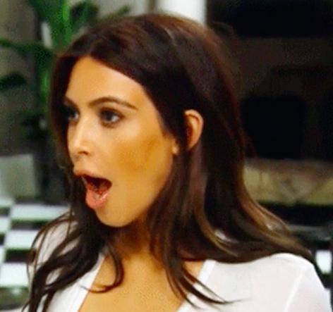 Kim Kardashian's jaw dropping in shock
