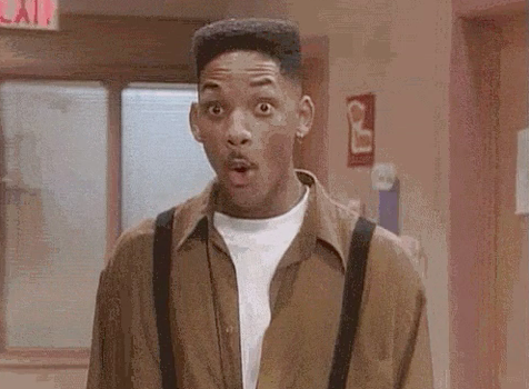 """Will Smith looking shocked in """"The Fresh Prince of Bel-Air"""""""