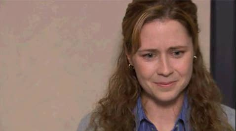 """Pam from """"The Office"""" crying"""