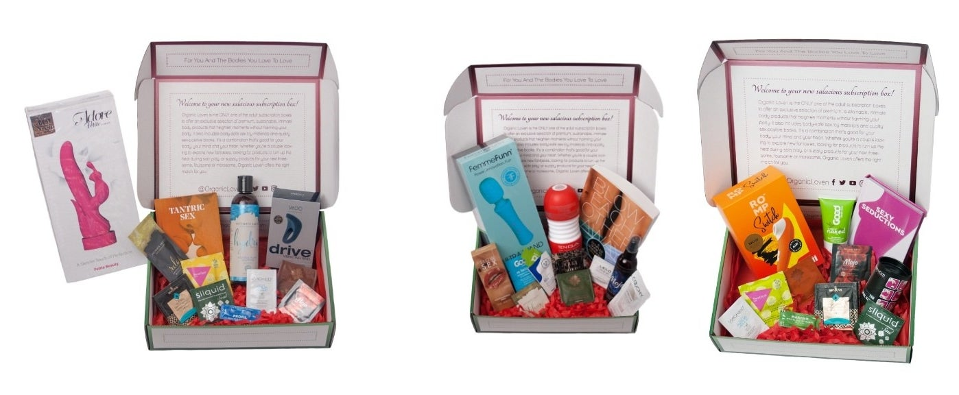 Three different boxes with an assortment of sexual wellness products