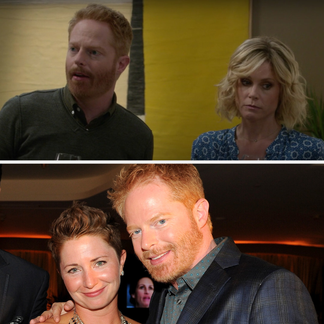 Above, Mitch and Claire are talking Phil. Below, Jesse is posing for a photo with his sister Kelly