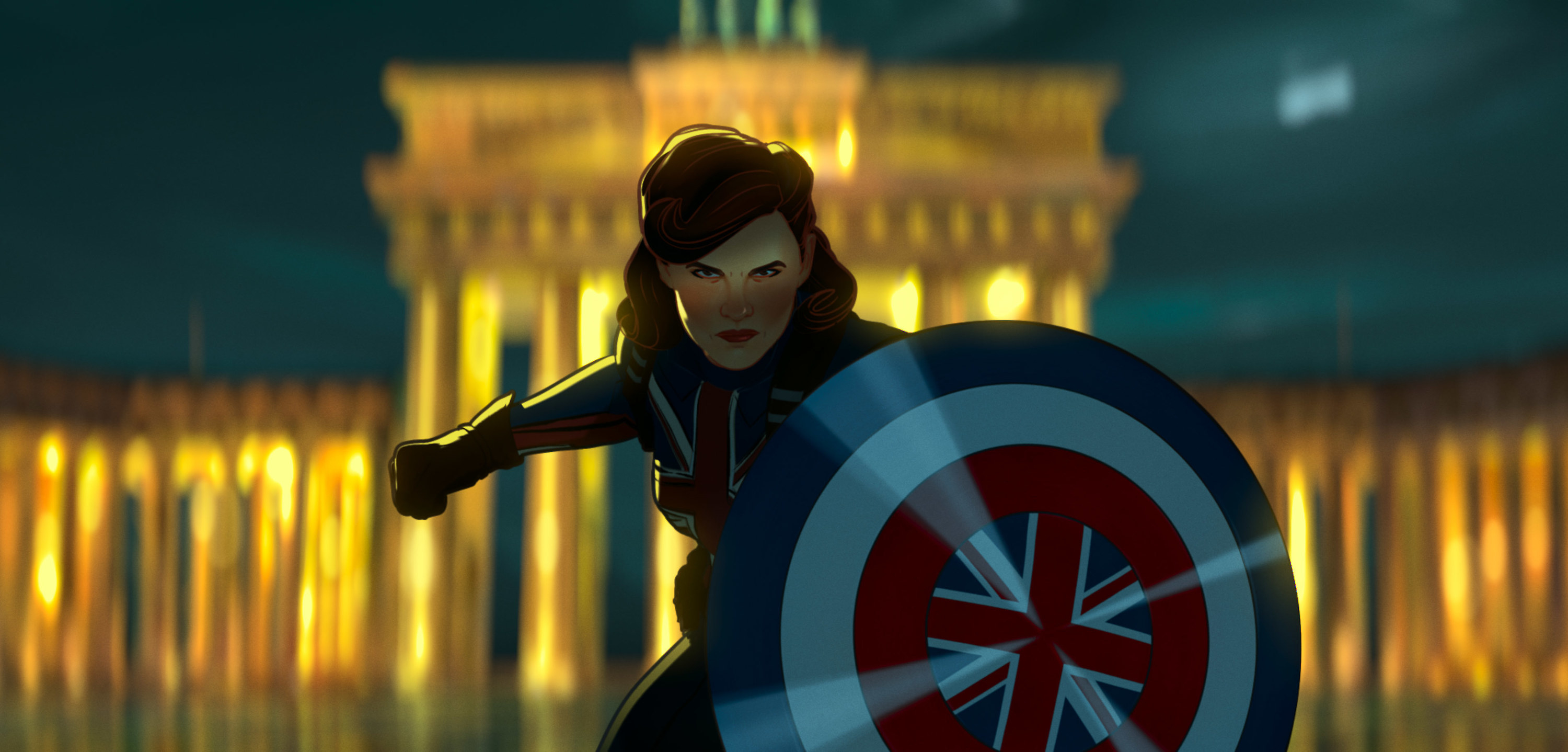 Agent Carter stands with a shield in a fighting pose