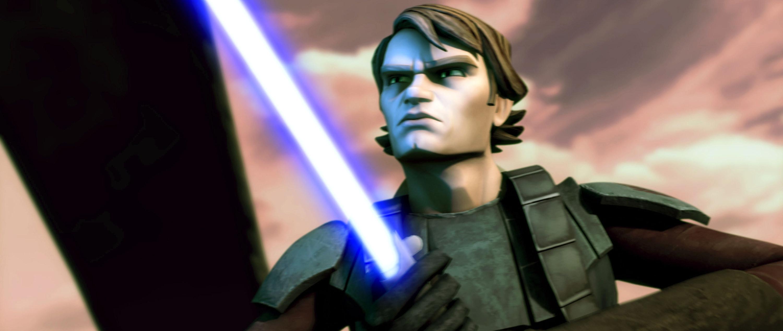 Anakin Skywalker with a lightsaber