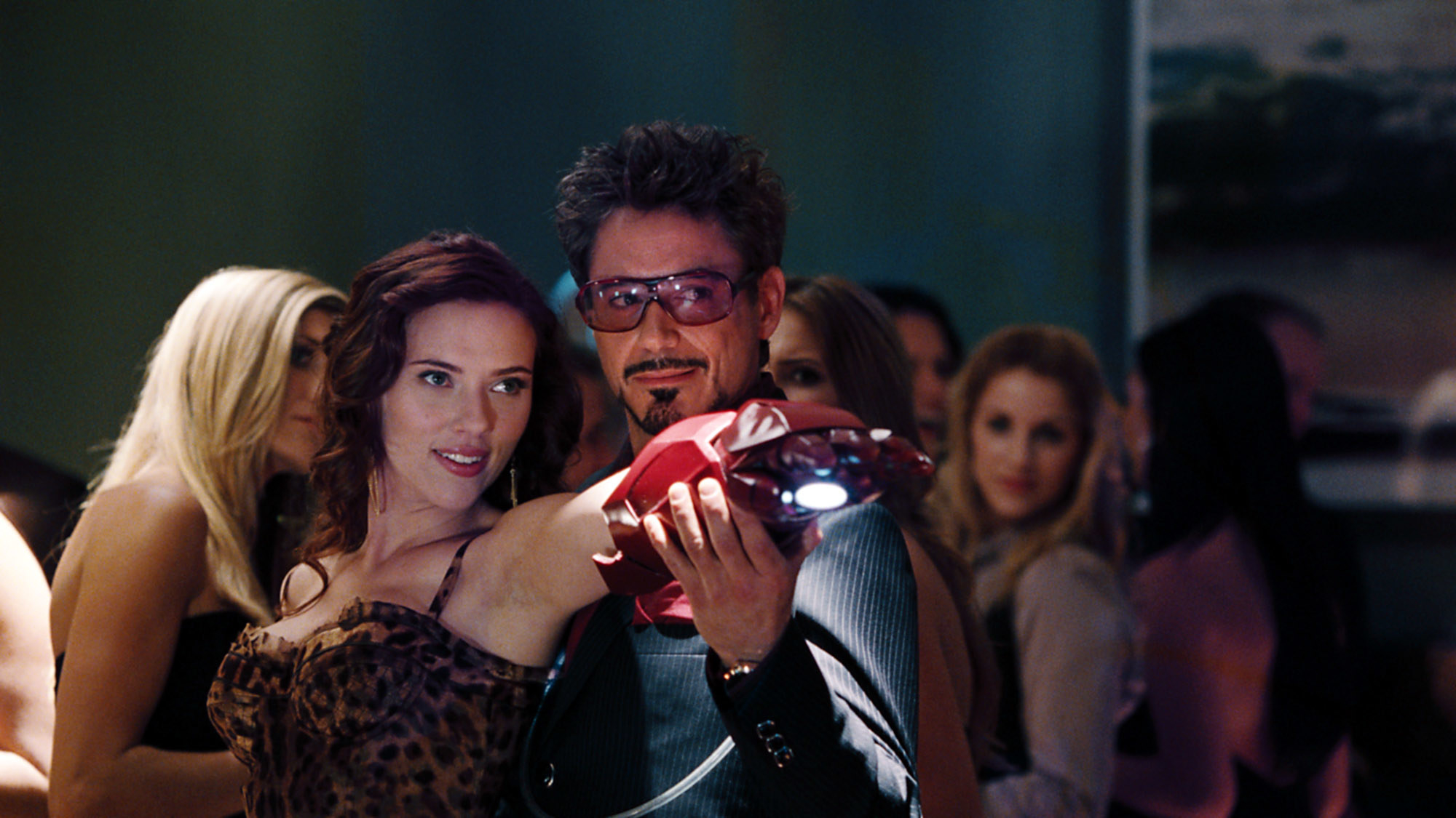 Scarlett and Robert Downey Jr. in a scene from Iron Man 2