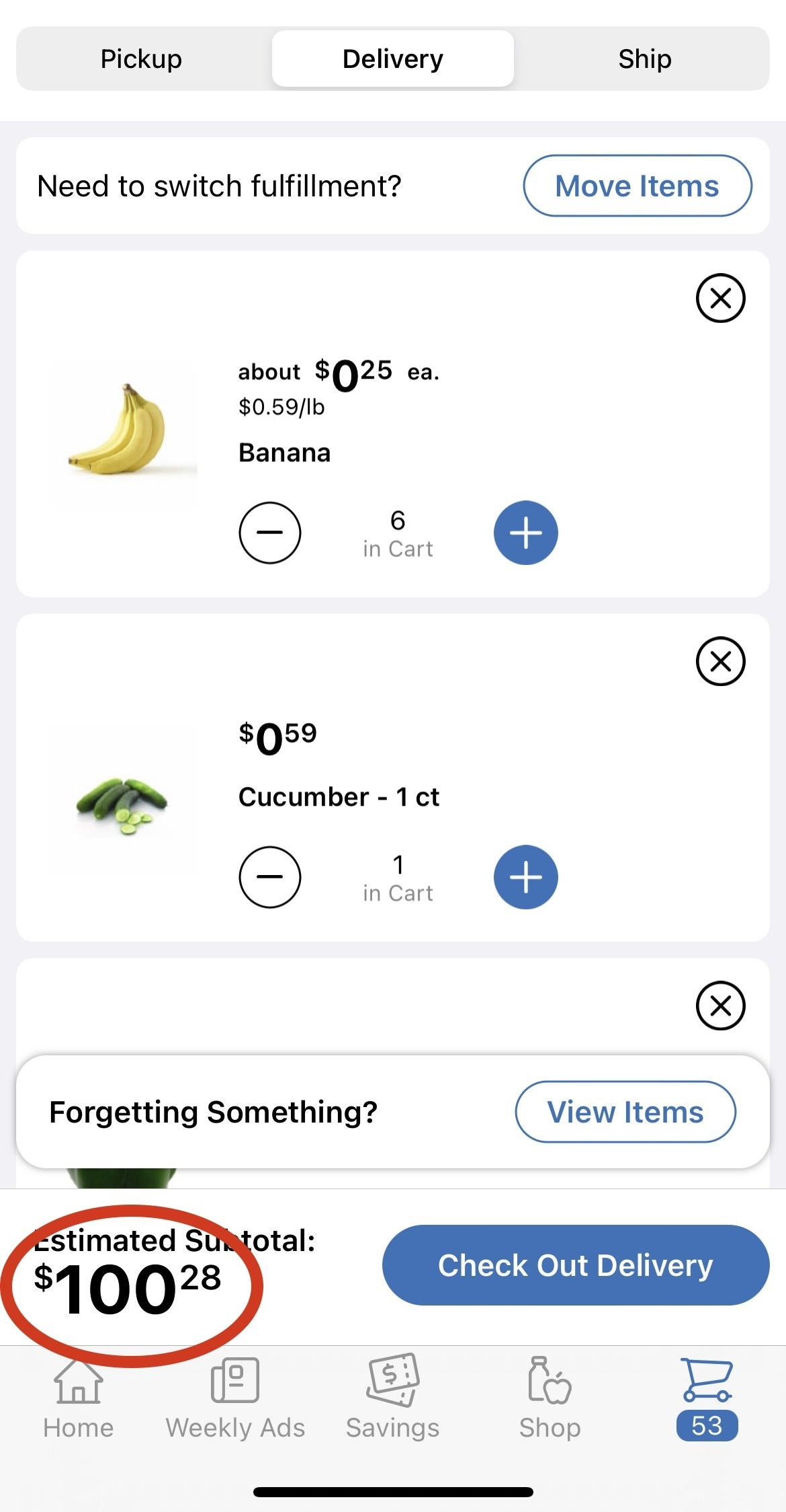 Total cost of groceries for the week- $100.28